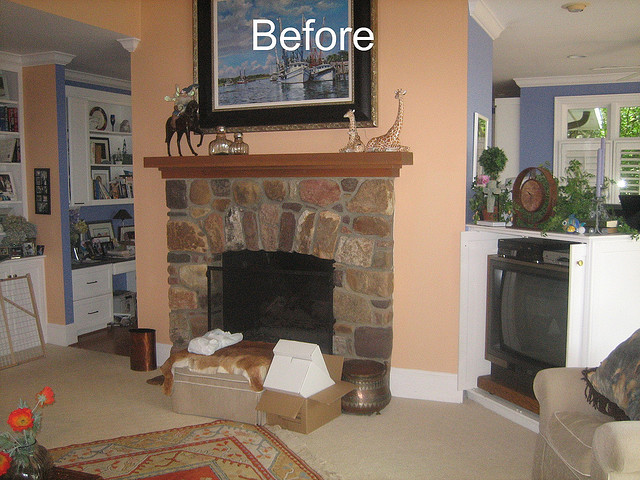 Before Whole House Remodel - Family Room & Fireplace