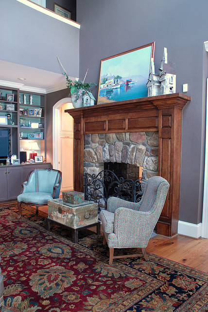After Whole House Remodel - Family Room & Fireplace