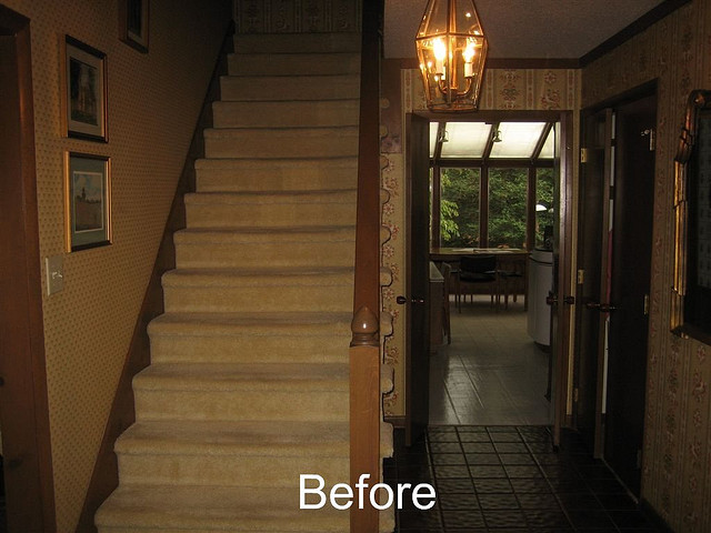 Before Whole House Remodel - Foyer & Staircase