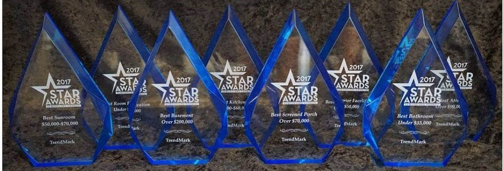 TrendMark Inc showcases 8 Star Awards for their remodeling expertise.